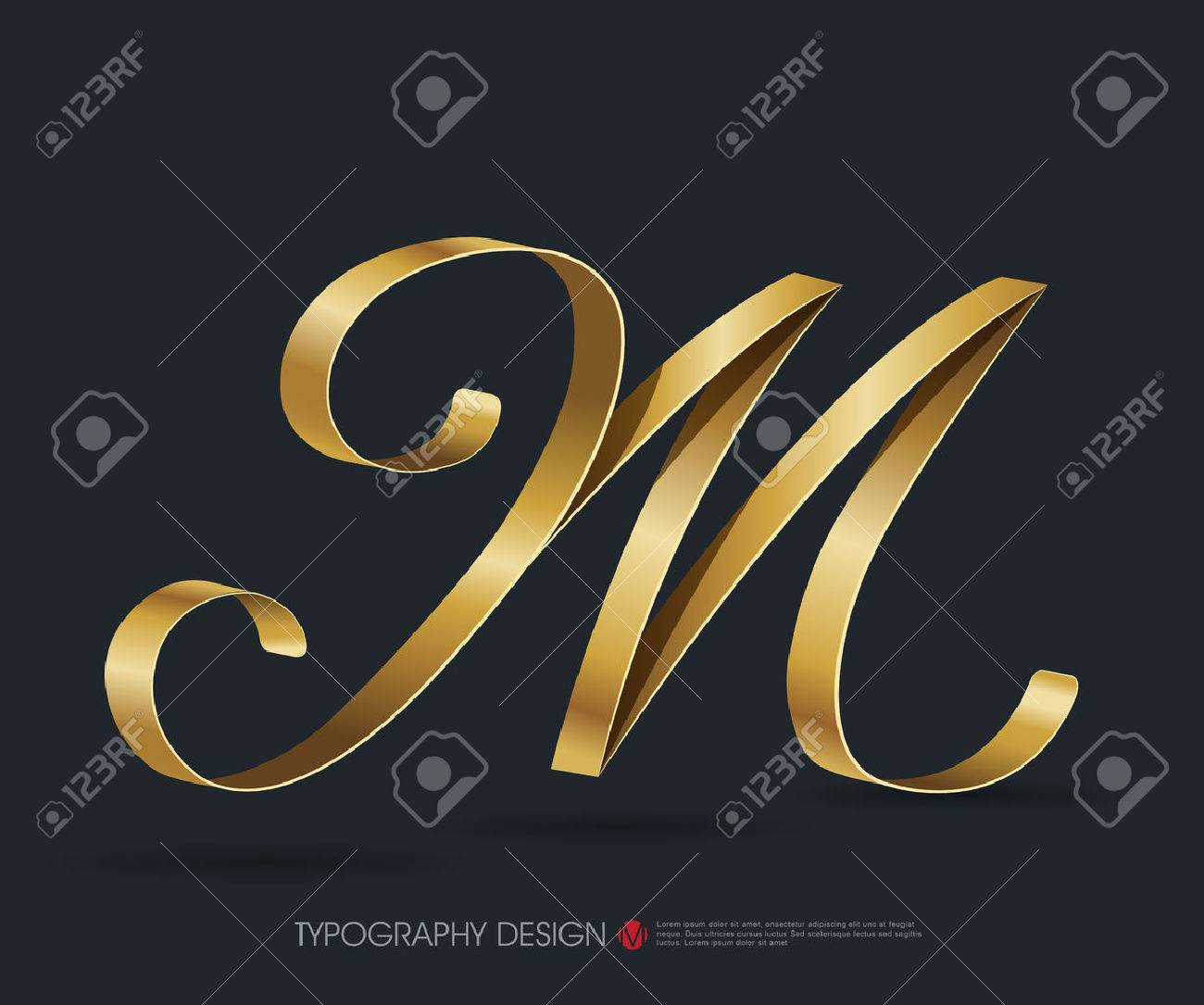 Ribbon Typography Font Type With Glossy Gold Decorative Silk