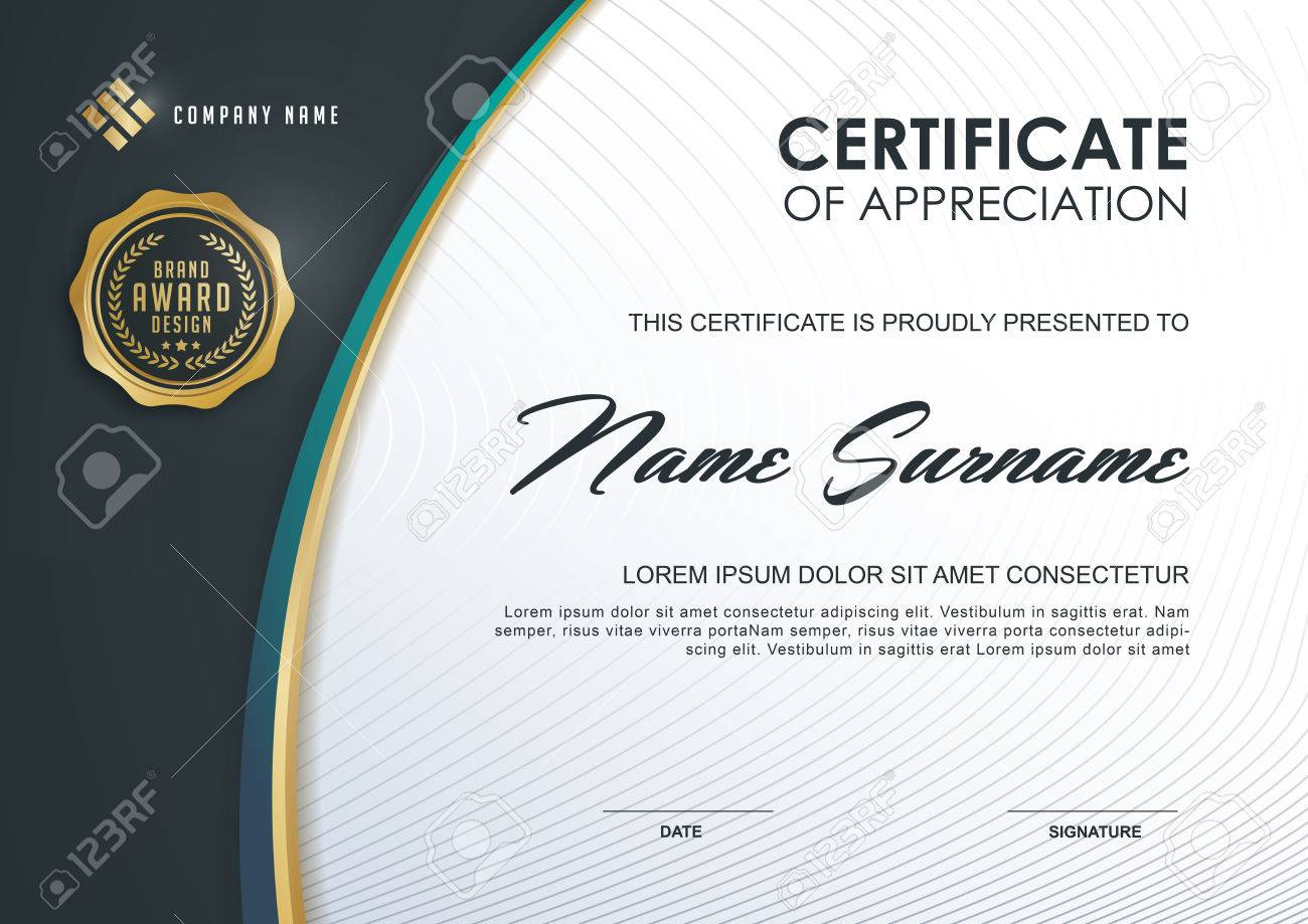 Certificate Template With Luxury And Modern Pattern Qualification
