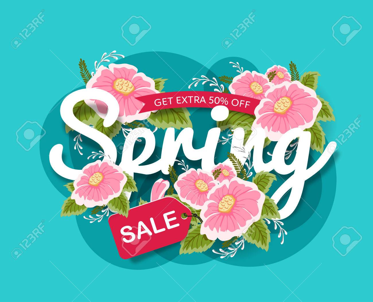 Spring Sale Banner poster tag design with Colorful Flowers. Vector illustration - 56891594