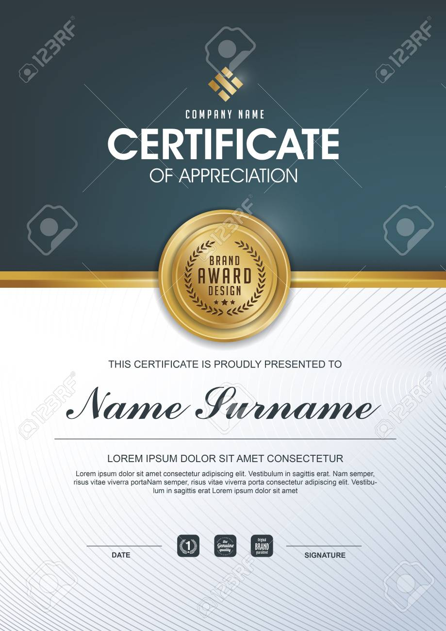 Certificate Template With Clean And Modern Patternluxury Golden