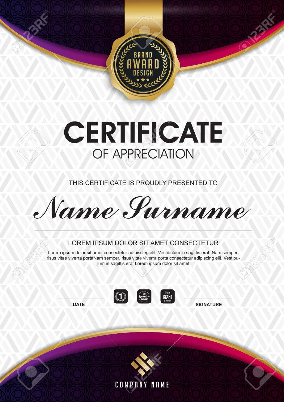 Certificate Template With Clean And Modern Pattern Luxury Golden