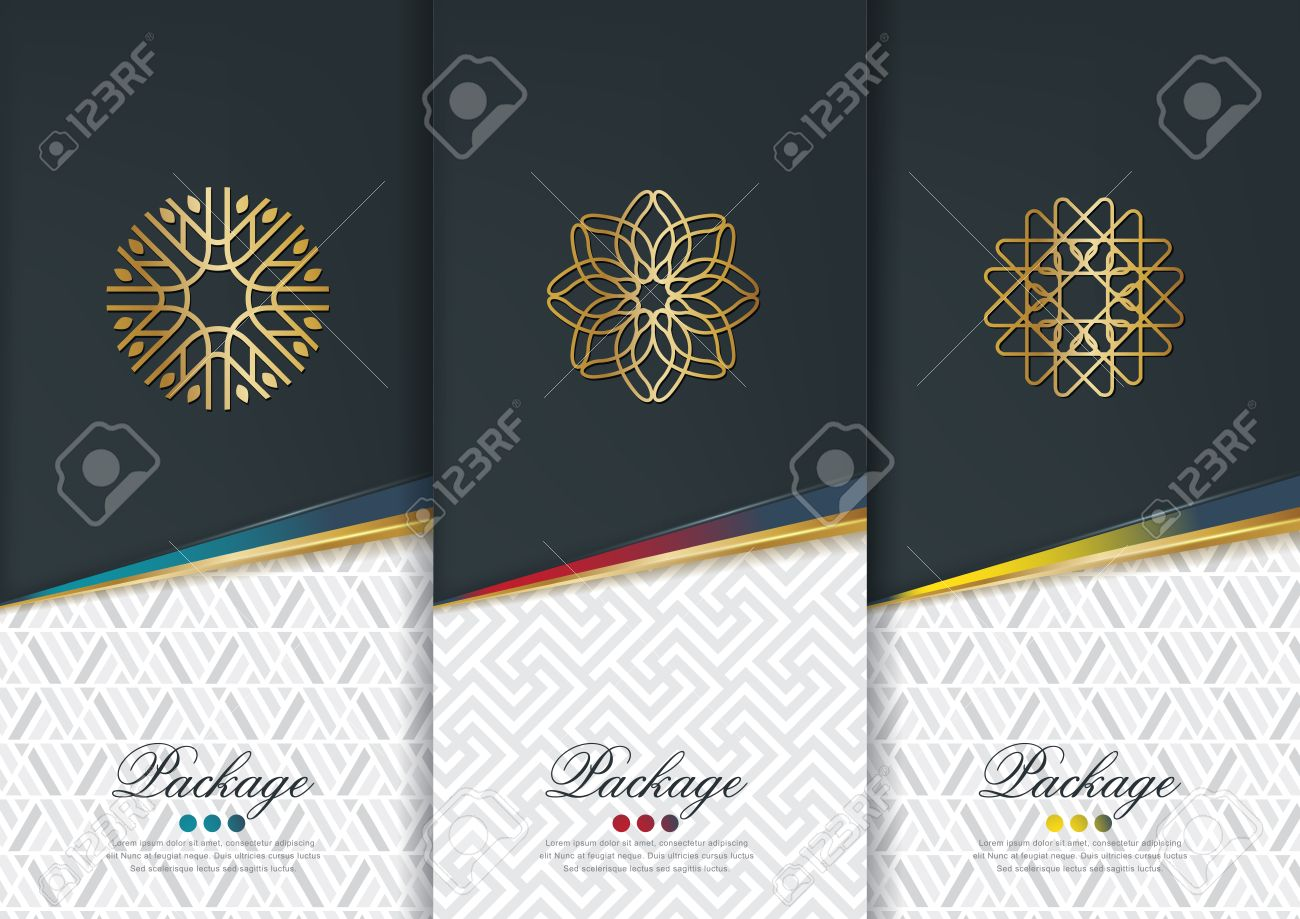 Vector set of templates packaging,black labels and frames for packaging for luxury products in geometric trendy linear style,identity,branding,golden pattern in trendy linear style,vector illustration - 63977824