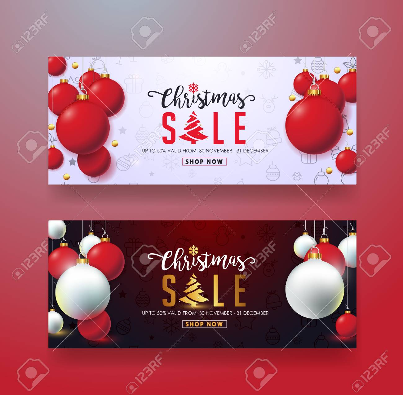 Christmas Sale Banner Template,gift Card,discount Voucher,coupon ...