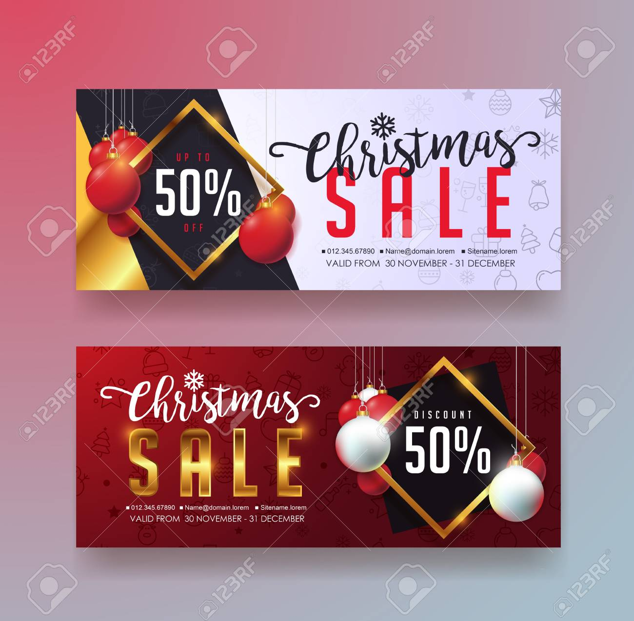 christmas sale banner template gift card discount voucher coupon