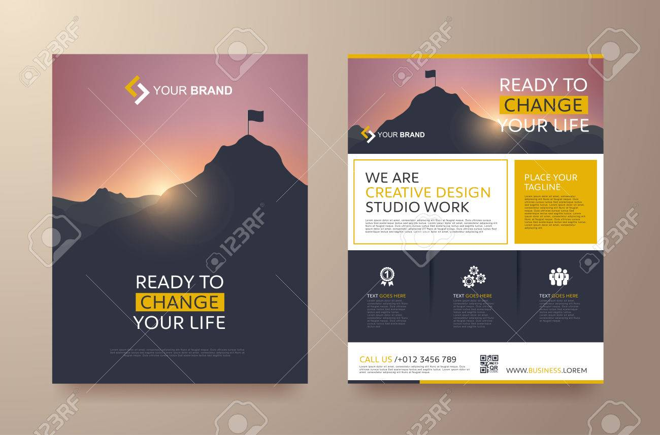 poster flyer pamphlet brochure cover design layout space for photo background, vector template in A4 size - 69878712