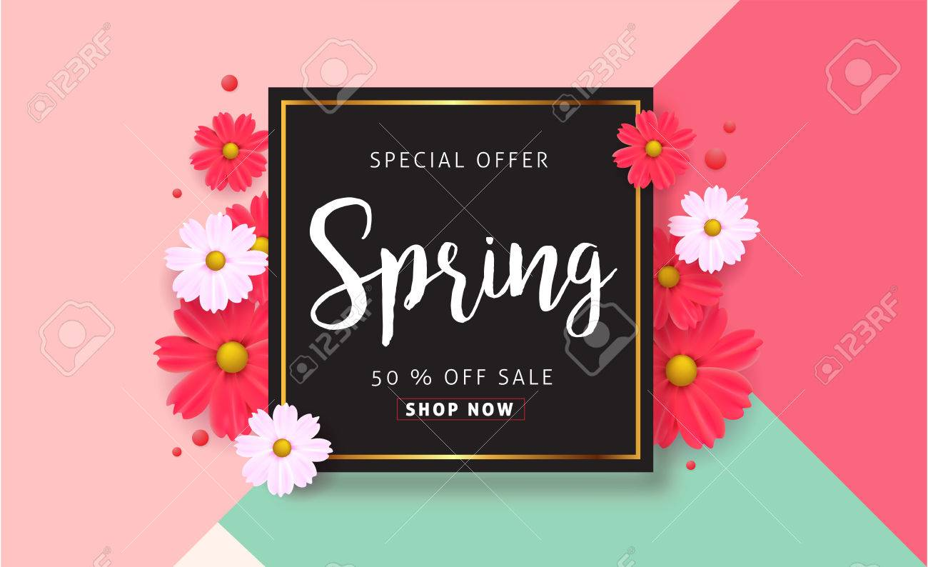 Spring sale background with beautiful colorful flower vector imagens spring sale background with beautiful colorful flower vector illustrationnnerswallpaperers invitation posters brochure stopboris Choice Image