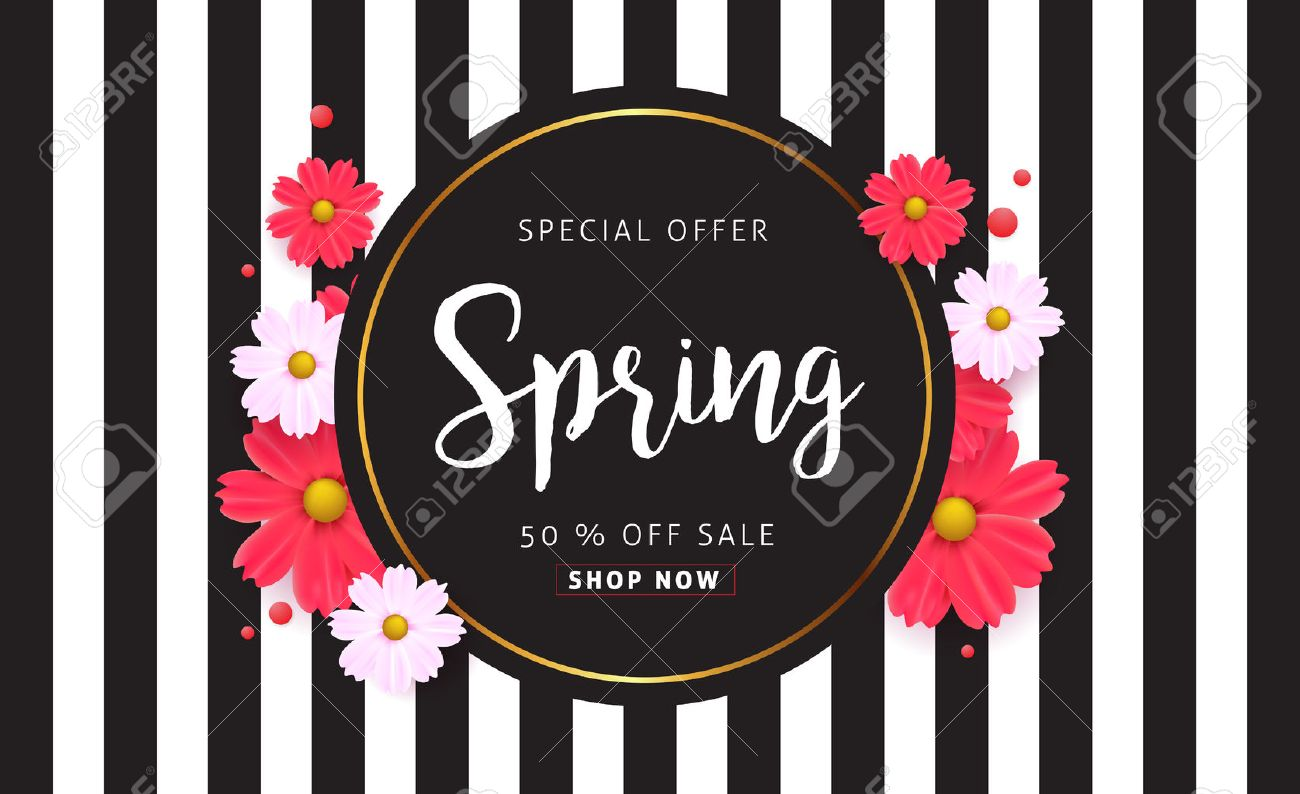 Spring sale background with beautiful colorful flower. Vector illustration.banners.Wallpaper.flyers, invitation, posters, brochure, voucher discount. - 71270574