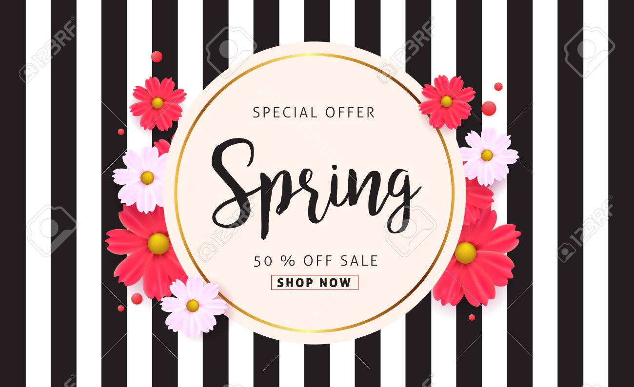 Spring sale background with beautiful colorful flower. Vector illustration.banners.Wallpaper.flyers, invitation, posters, brochure, voucher discount. - 71270578