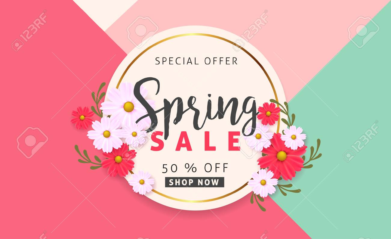 Spring sale background banner with beautiful colorful flower. Vector illustration. - 73151585