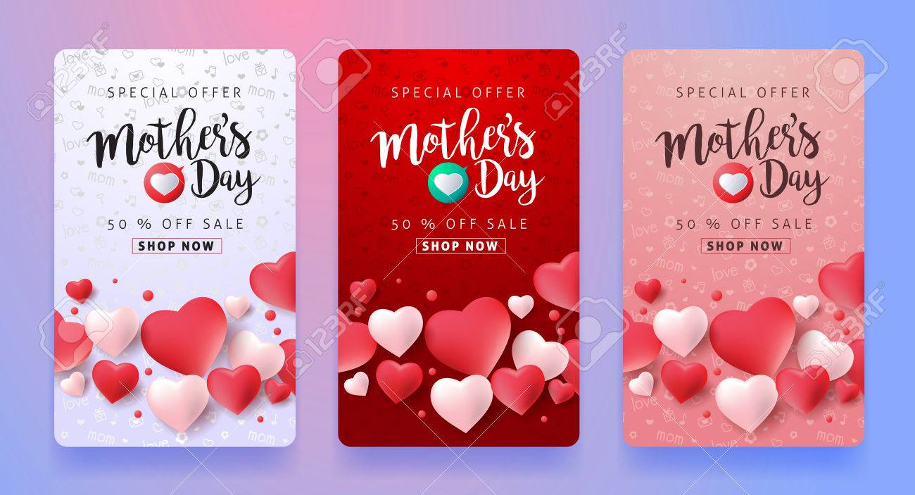 Mothers day sale pattern layout with Heart Shaped Balloons for banners,Wallpaper,flyers, invitation, posters, brochure, voucher discount.Vector illustration template. - 74127900