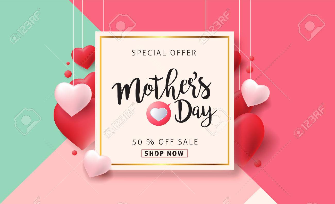 Mothers day sale background poster banner with beautiful colorful flower. Vector illustration. - 74127904