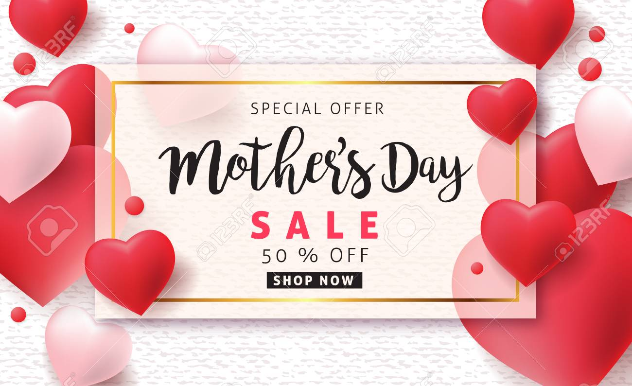 Mothers day sale pattern poster banner with beautiful colorful flower. Vector illustration. - 74216984