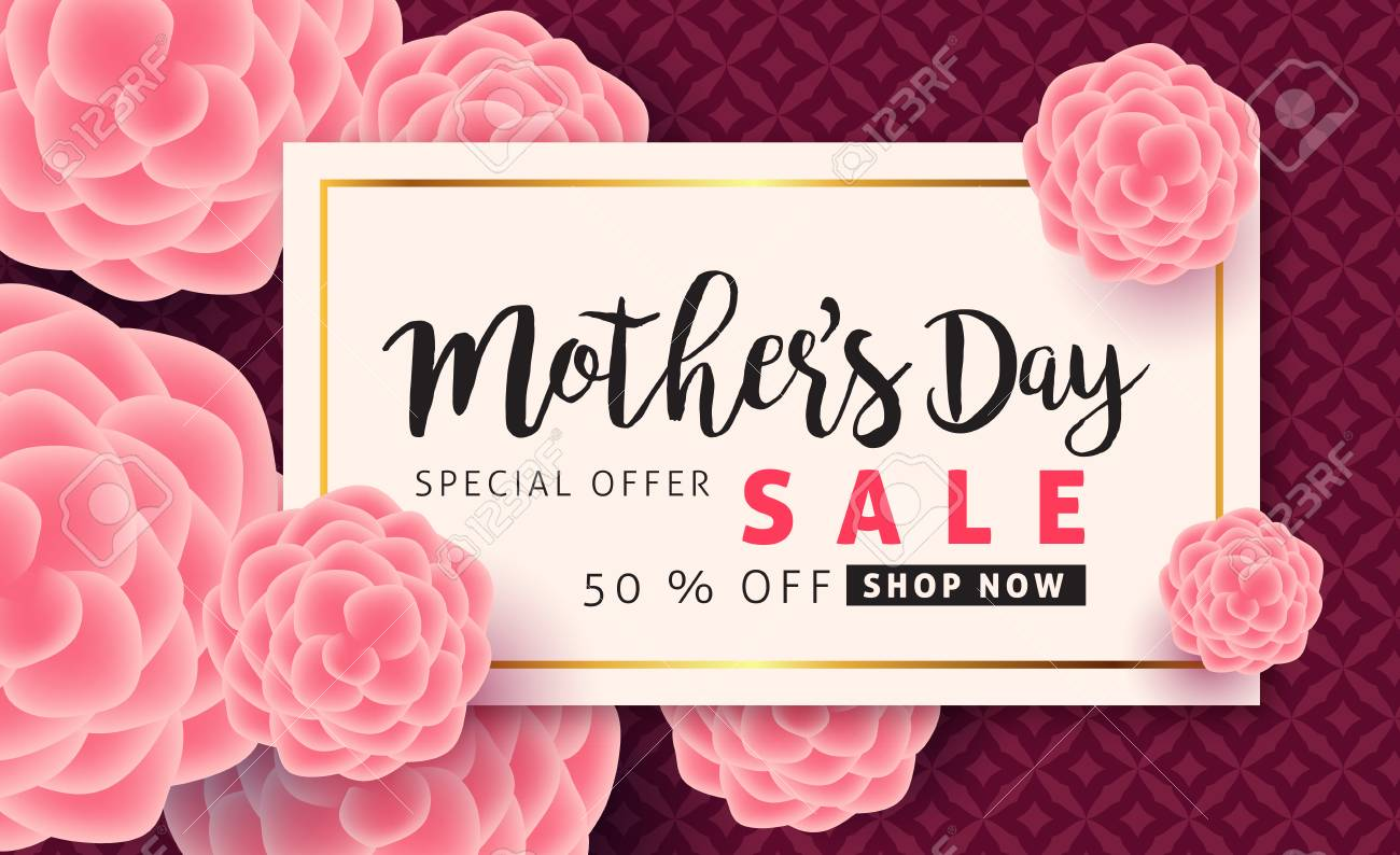 Mothers day sale pattern poster banner with beautiful colorful flower. Vector illustration. - 74216986
