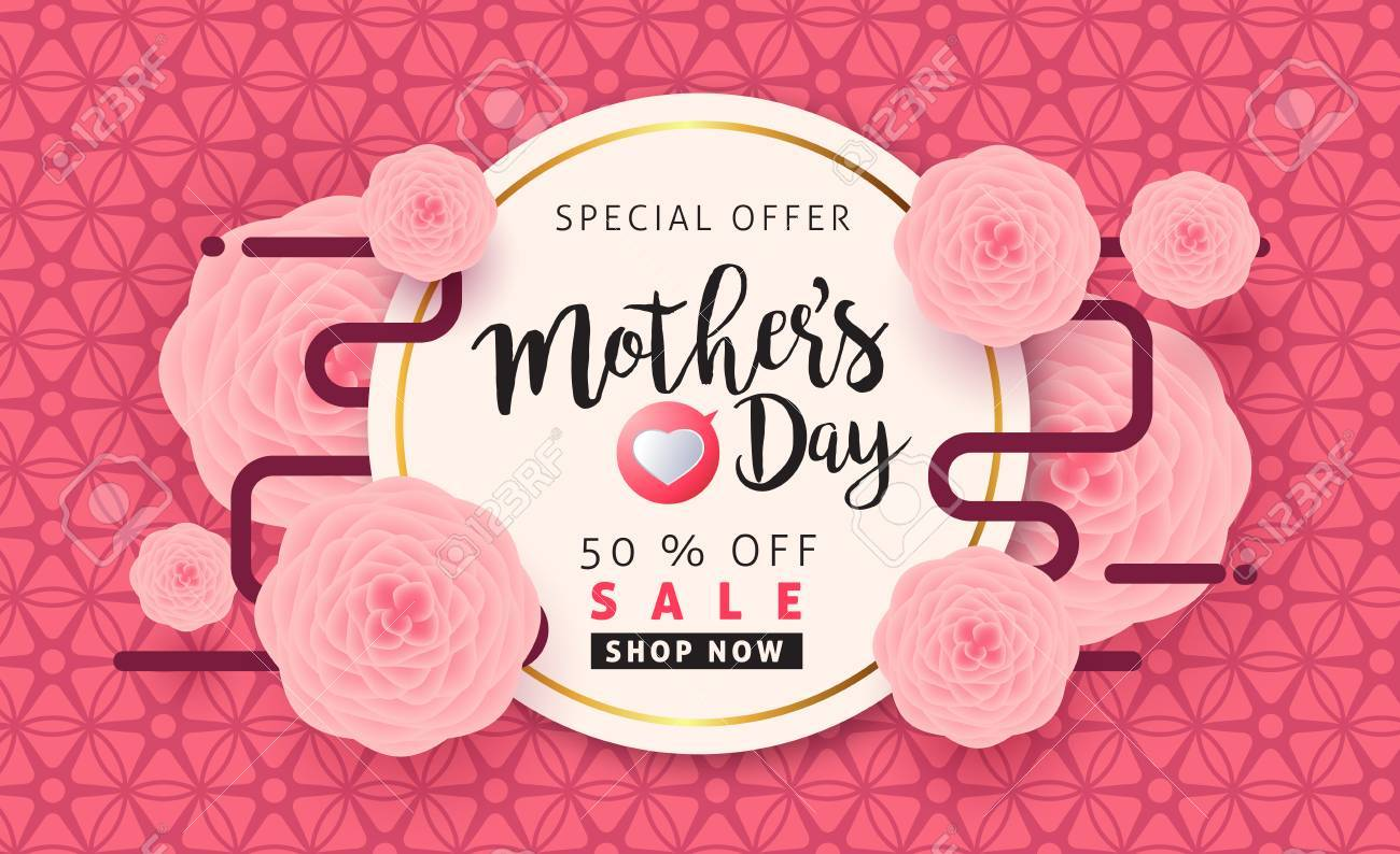 Mothers day sale background poster banner with beautiful colorful flower. Vector illustration. - 74216988