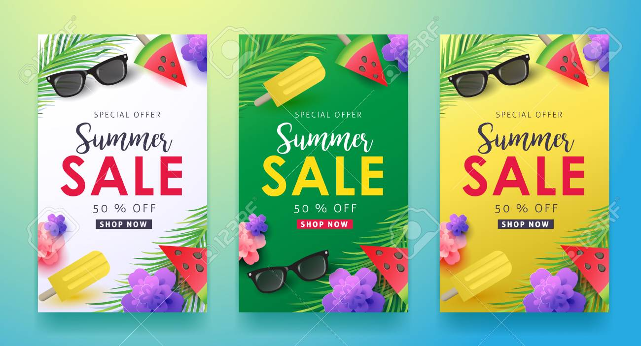 Summer sale background layout for banners,Wallpaper,flyers, invitation, posters, brochure, voucher discount.Vector illustration template. - 74217003