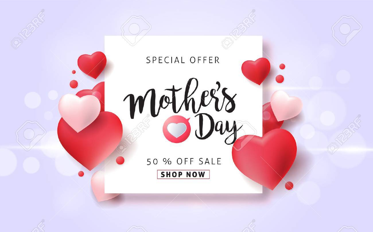 Mothers day sale pattern poster banner with beautiful colorful flower. Vector illustration. - 74217013