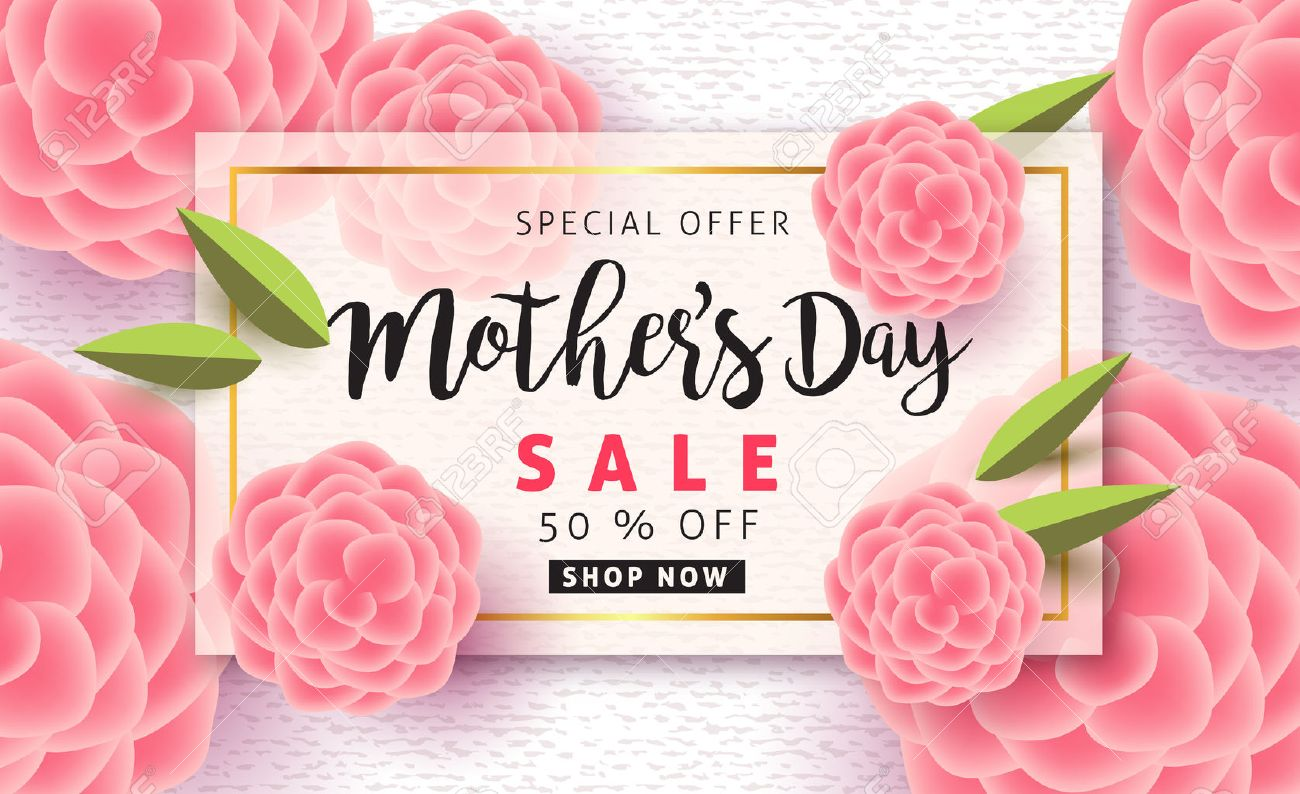 Mothers day sale pattern poster banner with beautiful colorful flower. Vector illustration. - 74217031