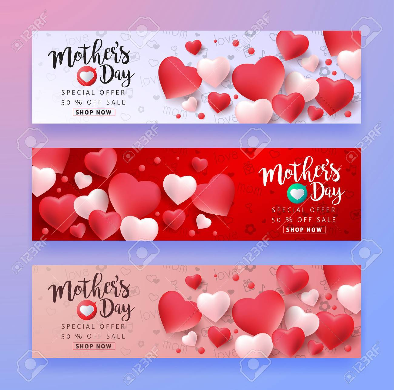 Mothers day sale background layout with Heart Shaped Balloons for banners,Wallpaper,flyers, invitation, posters, brochure, voucher discount.Vector illustration template. - 74274557