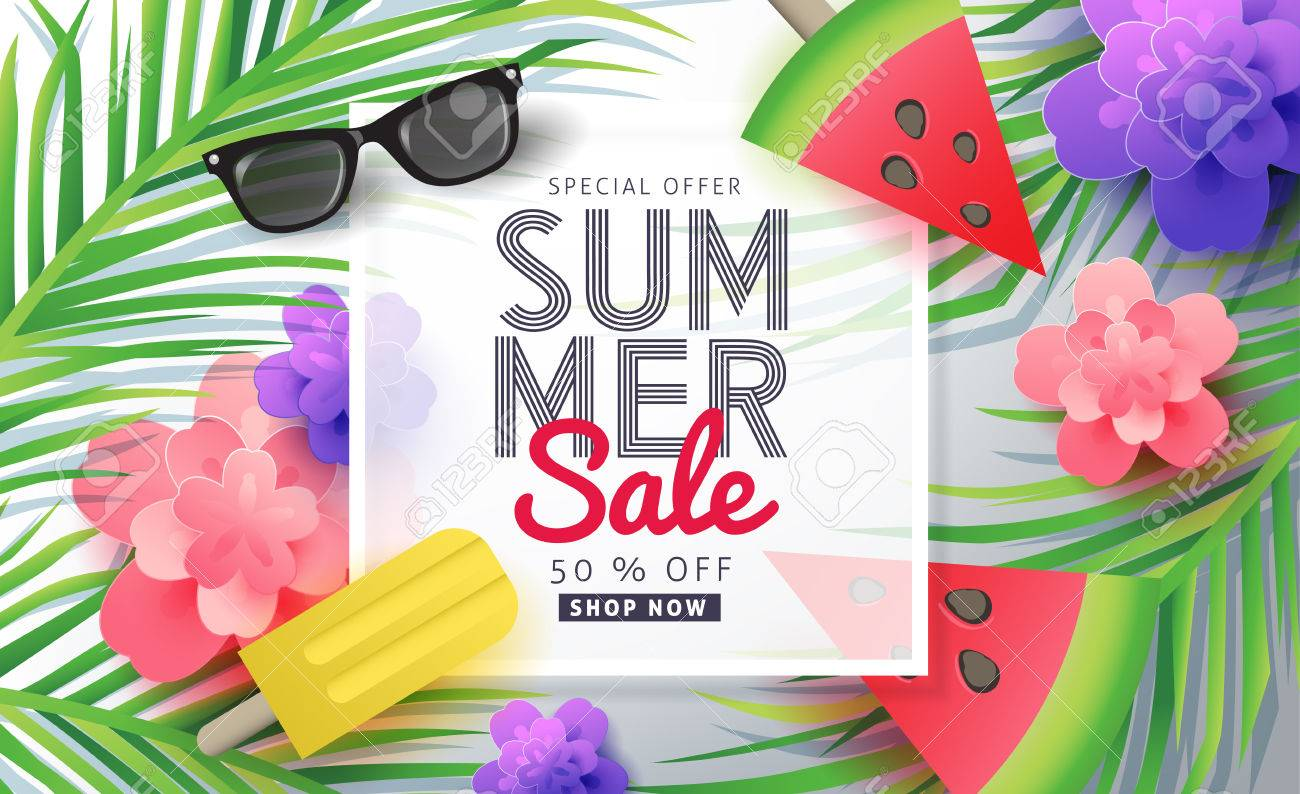 Summer sale background layout for banners,Wallpaper,flyers, invitation, posters, brochure, voucher discount.Vector illustration template. - 74287293