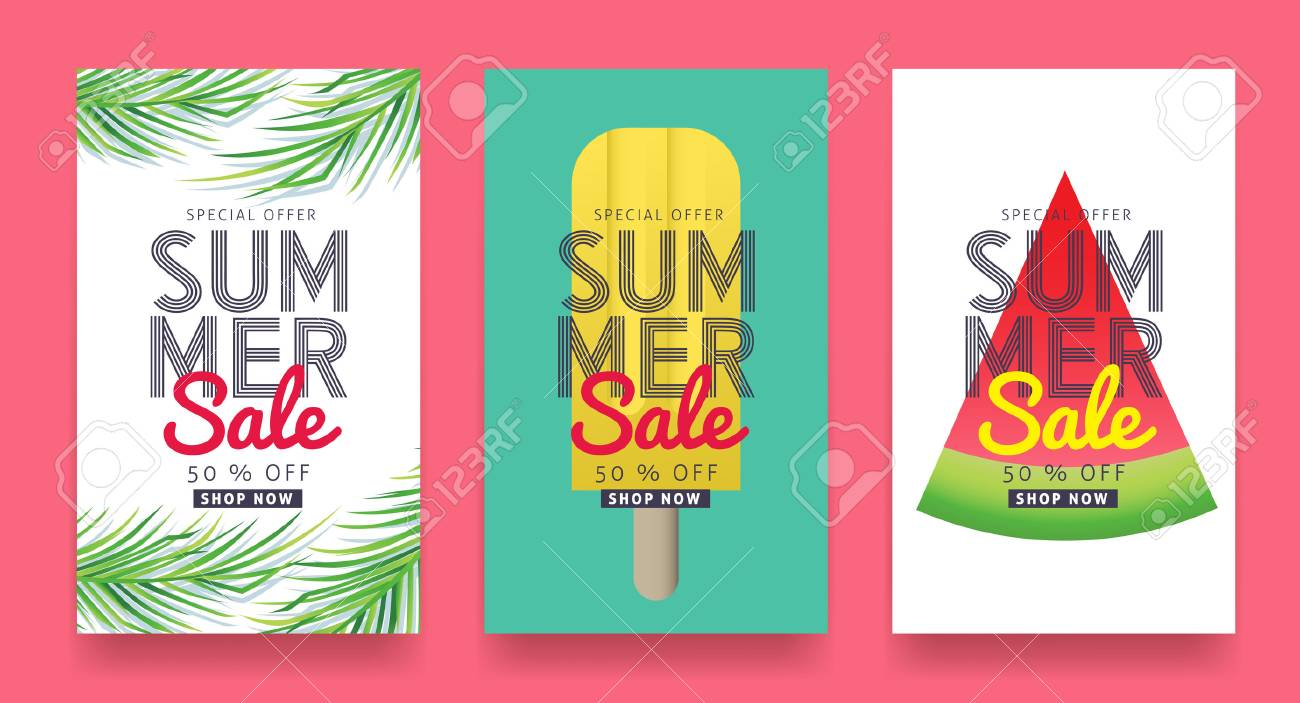 Summer sale background layout for banners, Wallpaper, flyers, invitation, posters, brochure, voucher discount.Vector illustration template. - 74220554