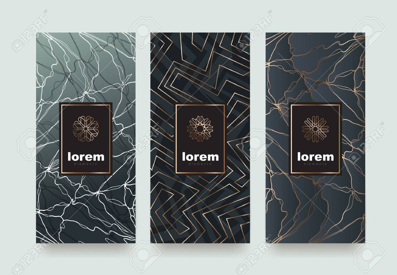 Set packaging templates with different texture for luxury products.logo design with trendy linear style.vector illustration - 75753622