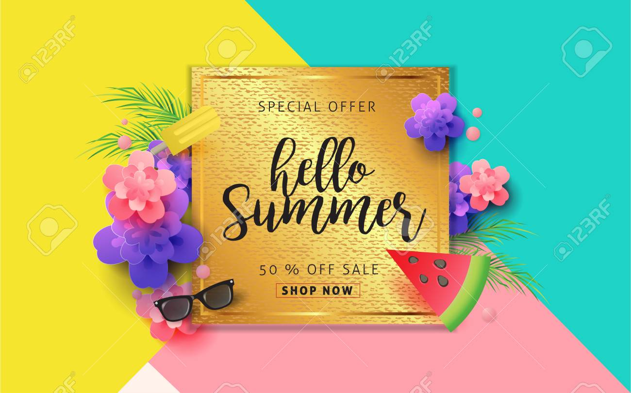 Summer Sale Pattern Layout For Banners Wallpaper Flyers Invitation Posters Brochure
