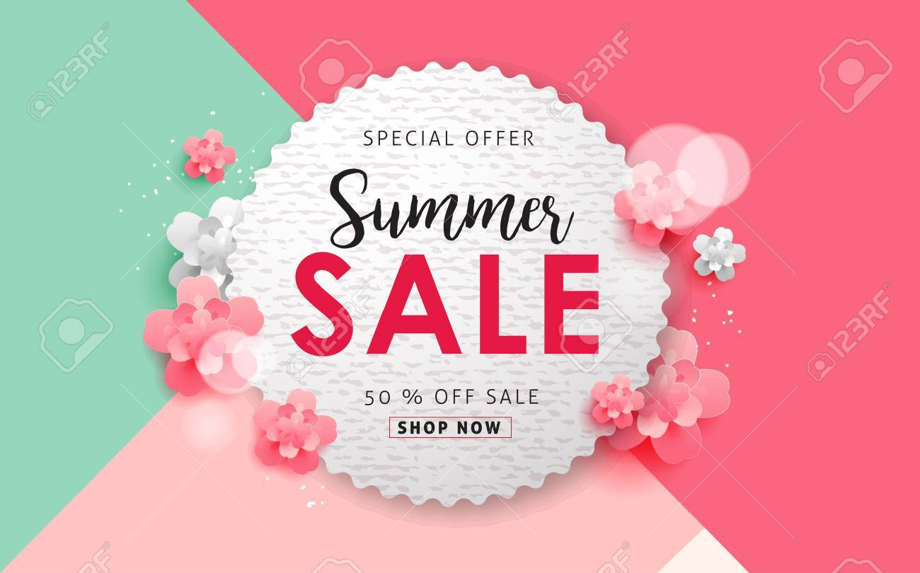 Summer sale background layout for banners,Wallpaper,flyers, invitation, posters, brochure, voucher discount.Vector illustration template. - 77498399