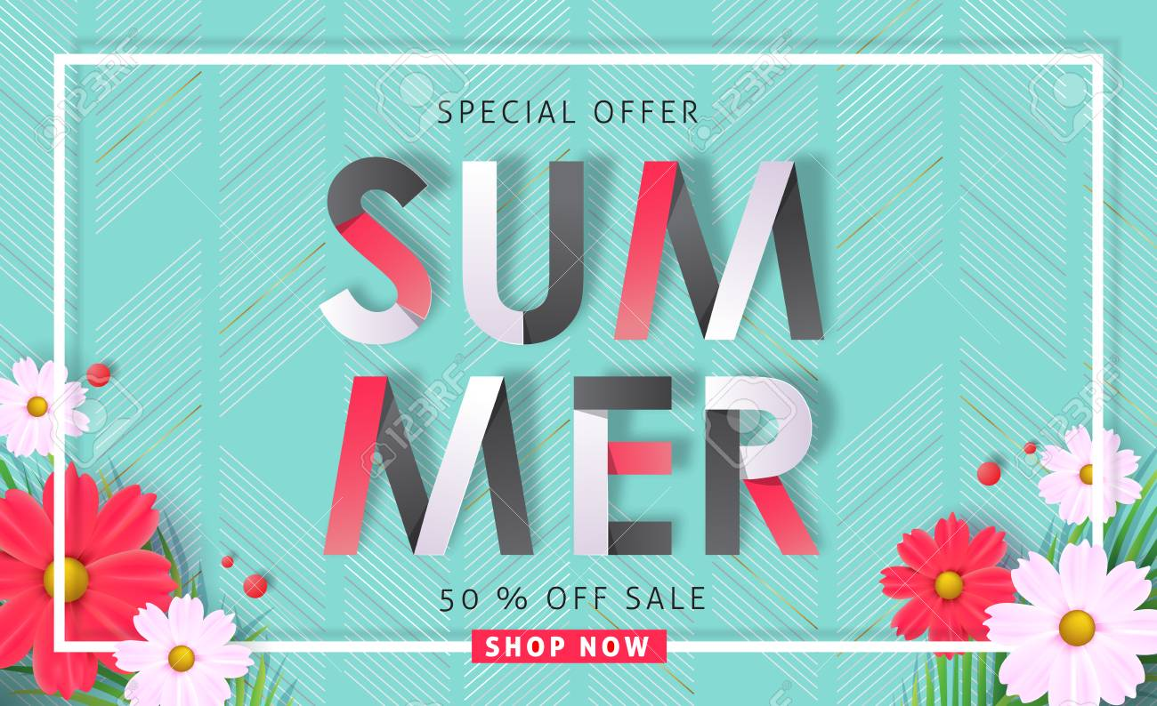 Summer sale background layout banners .voucher discount.Vector illustration template. - 82187905