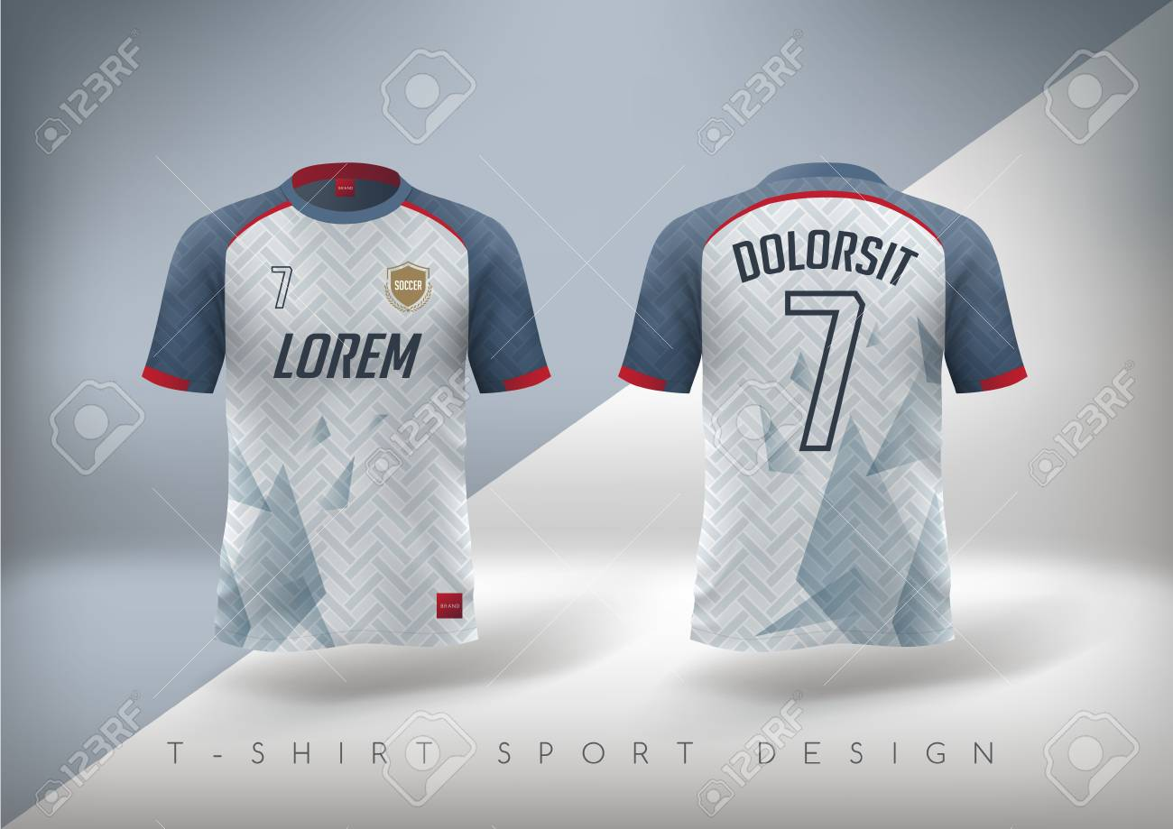 Soccer t-shirt design slim-fitting with round neck. Vector illustration - 83492728