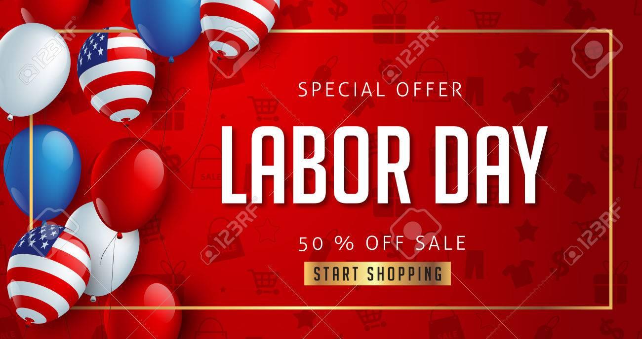 労働者の日販売促進広告バナー テンプレート装飾アメリカ国旗バルーン