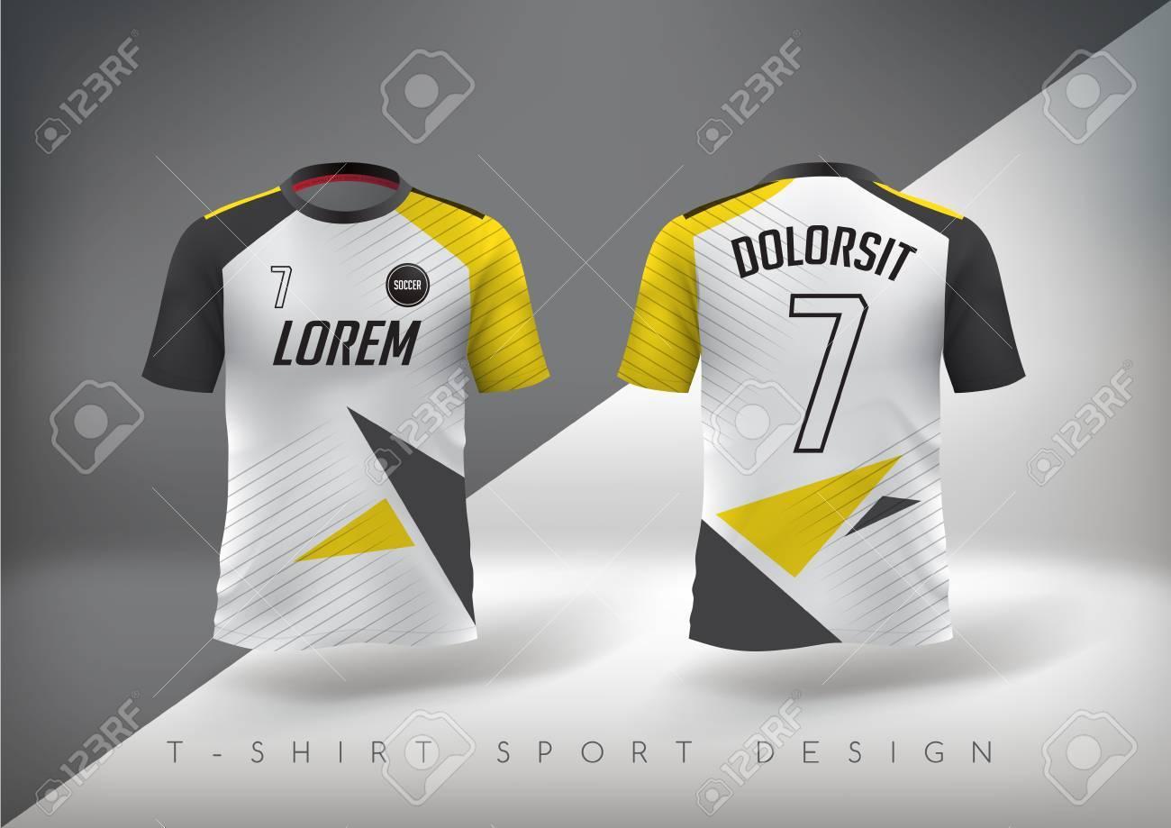 Soccer t-shirt design slim-fitting with round neck. Vector illustration - 84741727