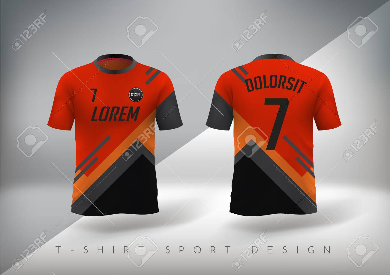 2d7fc5398 Soccer t-shirt design slim-fitting with round neck. Vector illustration  Stock Vector