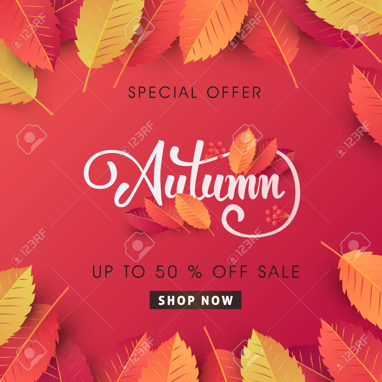 Autumn sale background layout decorate with leaves for shopping sale or promo poster and frame leaflet or web banner.Vector illustration template. - 84742370