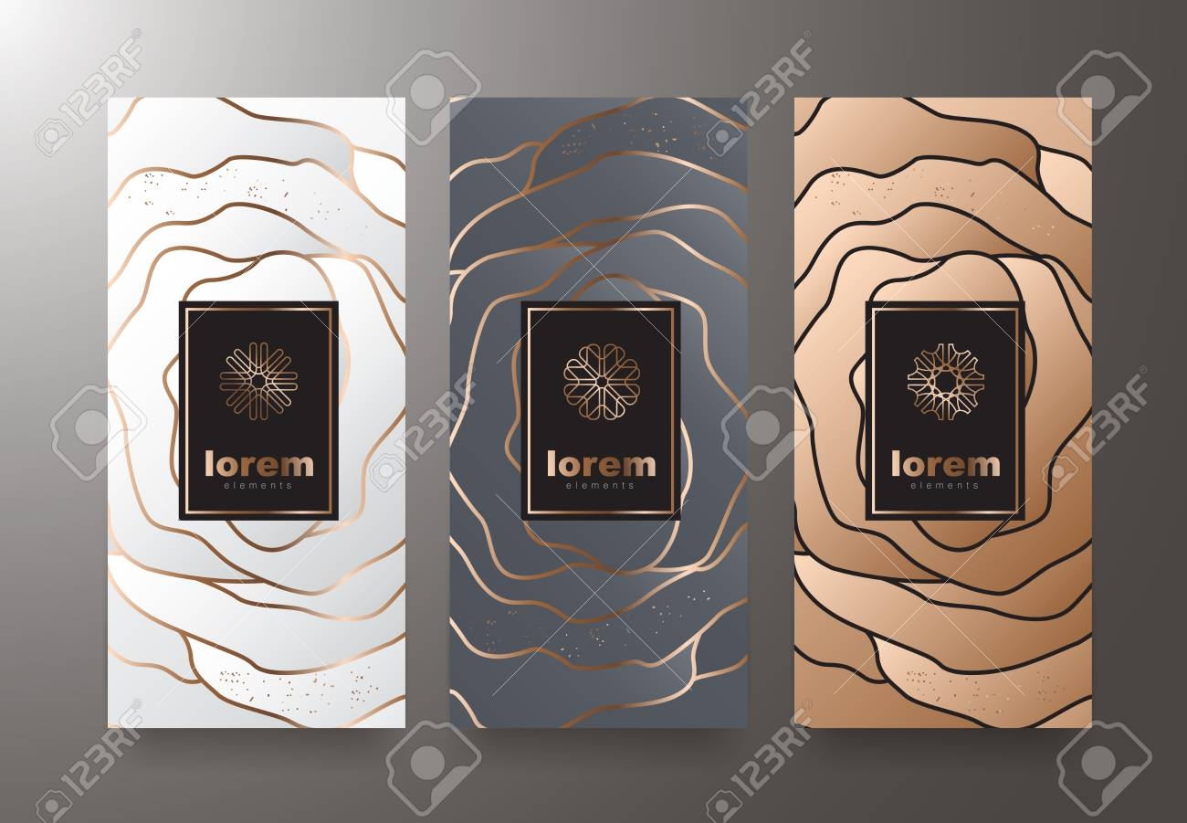 Vector set packaging templates with different texture for luxury products. Design with trendy linear style. Vector illustration - 88392071