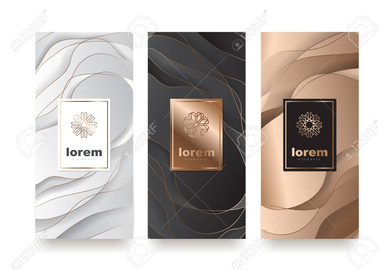Vector set packaging templates with different texture for luxury products.logo design with trendy linear style.vector illustration - 89984247