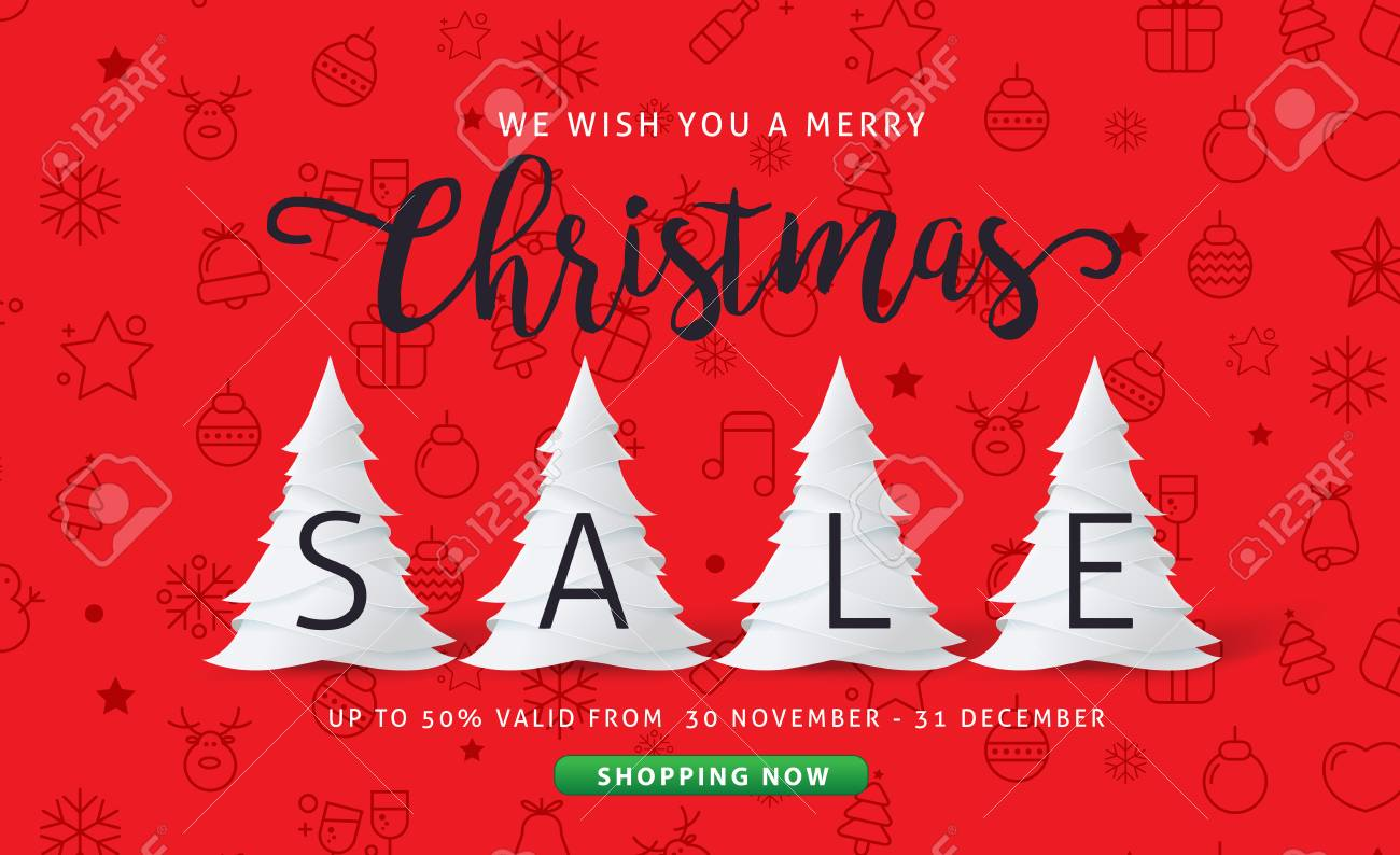 merry christmas and happy new year sale banner background with paper art and craft style