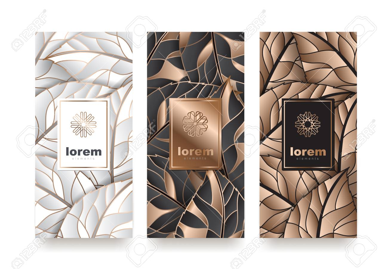 Vector set packaging templates with different texture for luxury products. logo design with trendy linear style vector illustration - 90735810