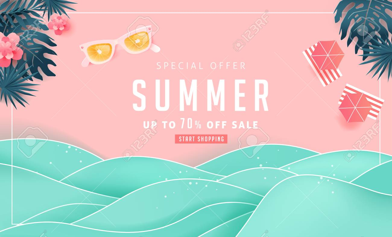 Summer sale design with paper cut tropical beach bright Color background layout banners .Orange sunglasses concept.voucher discount.Vector illustration template. - 104099100