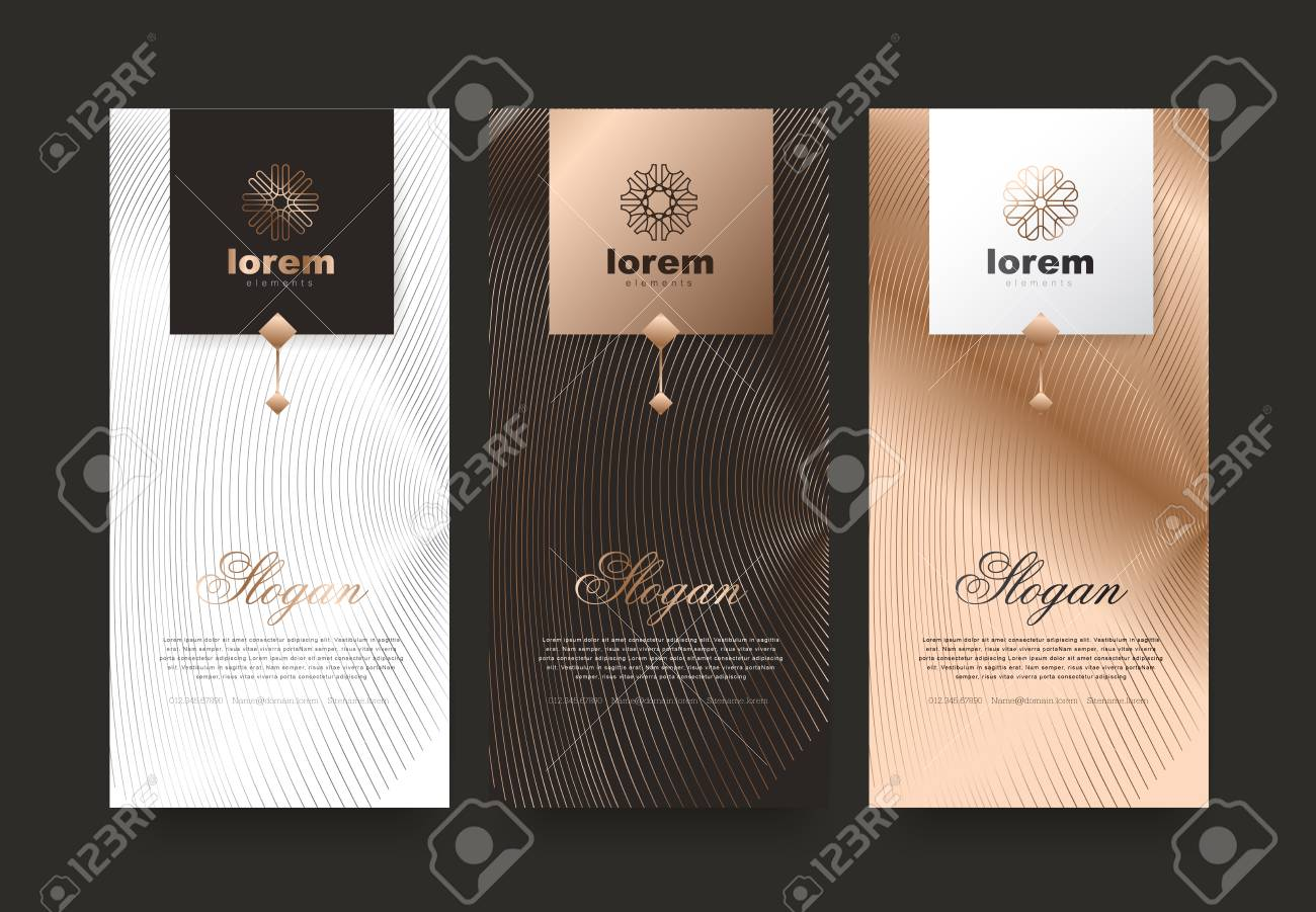 Vector set packaging templates nature luxury or premium products.logo design with trendy linear style.voucher discount, flyer, brochure.book cover vector illustration.greeting card background. - 104535409