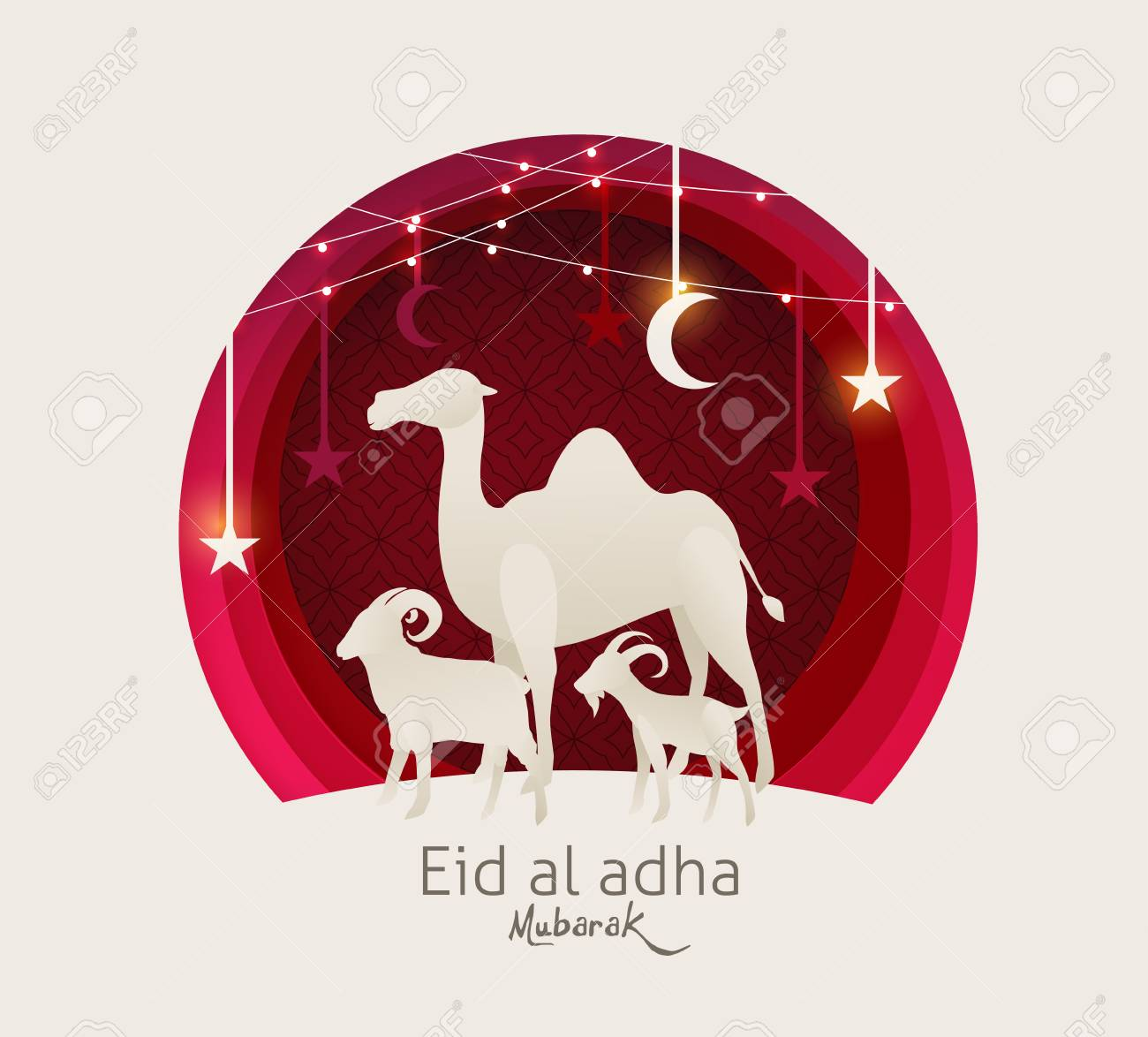 Eid Al Adha Mubarak the celebration of Muslim community festival background design with camel sheep and goat paper cut style.Glowing lights Vector Illustration - 106369293