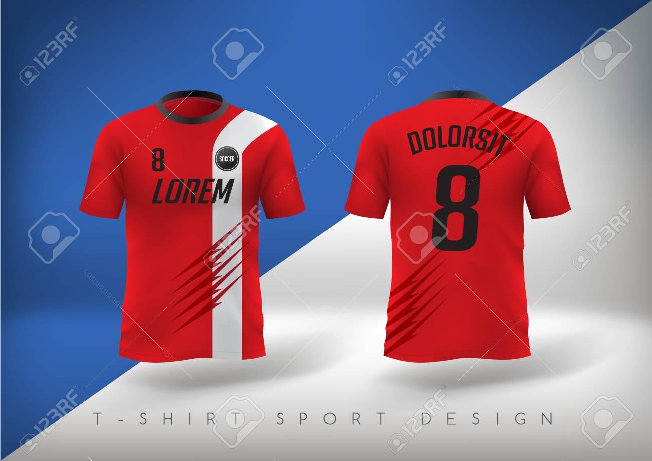 Soccer t-shirt design slim-fitting with round neck. Vector illustration - 110245788
