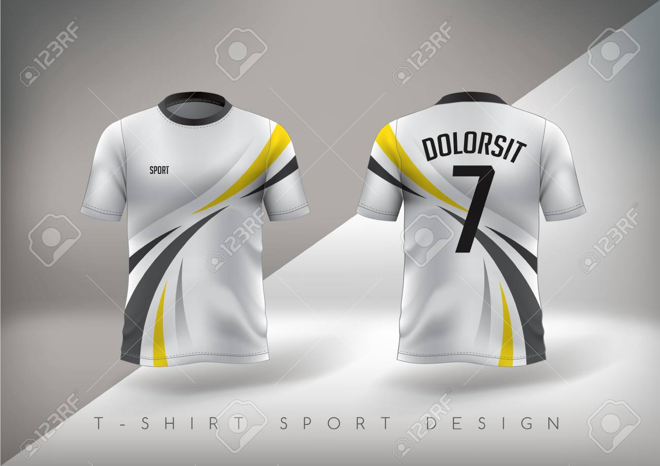 78bf44679 Soccer sport t-shirt design slim-fitting with round neck. Vector  illustration.