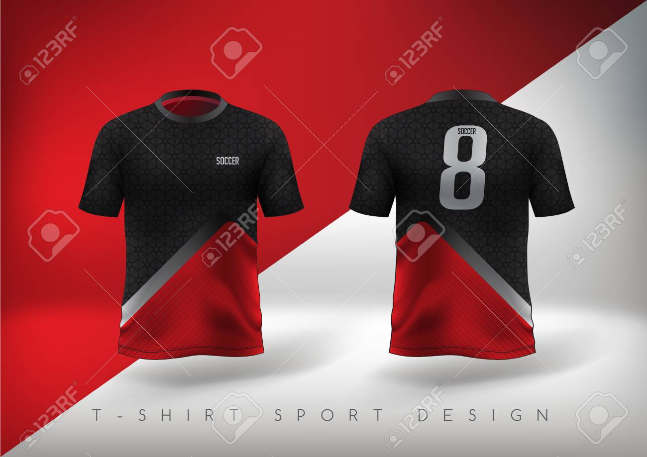 0b809d8f0021 Soccer sport t-shirt design slim-fitting red and black with round neck.