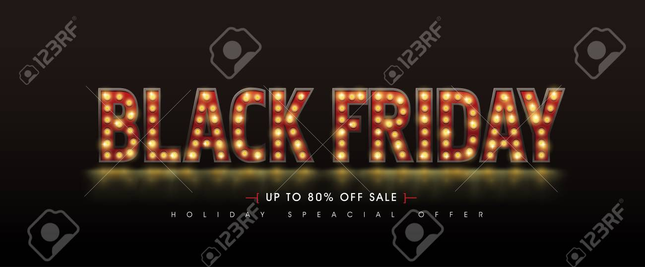 Retro light bulbs sign Black friday sale banner layout design template. Vector illustration - 132438348