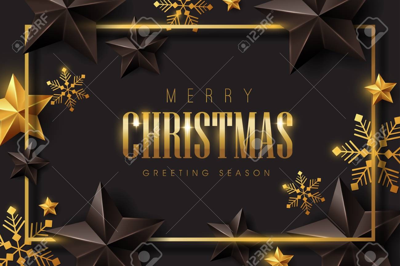 Vector merry Christmas and happy New Year background design with Snowflakes and stars decoration.Luxury greeting card.Winter vector illustration template. - 132438408
