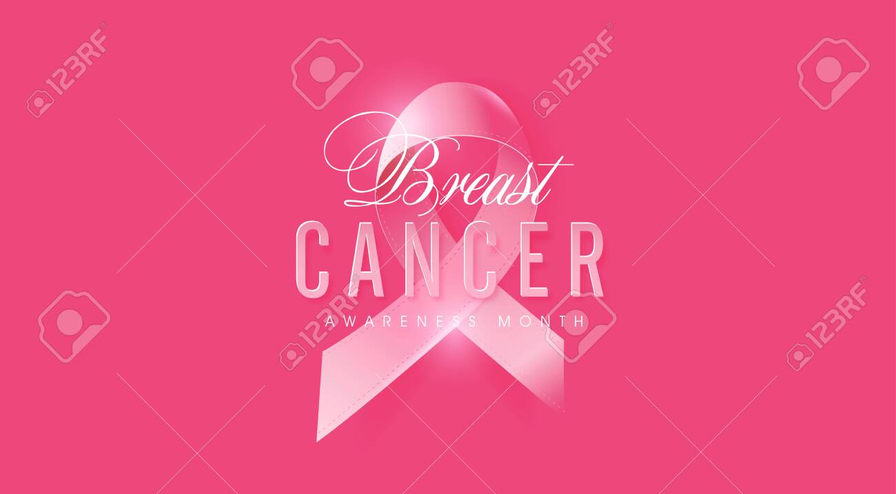 Breast cancer october awareness month pink ribbon banner background,vector illustration - 130991642