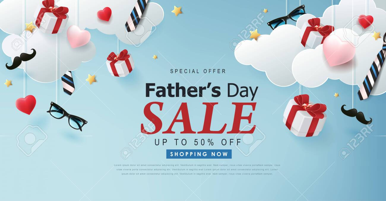Happy Fathers Day Sale banner backgroung.Promotion and shopping template.Vector illustration. - 148410308