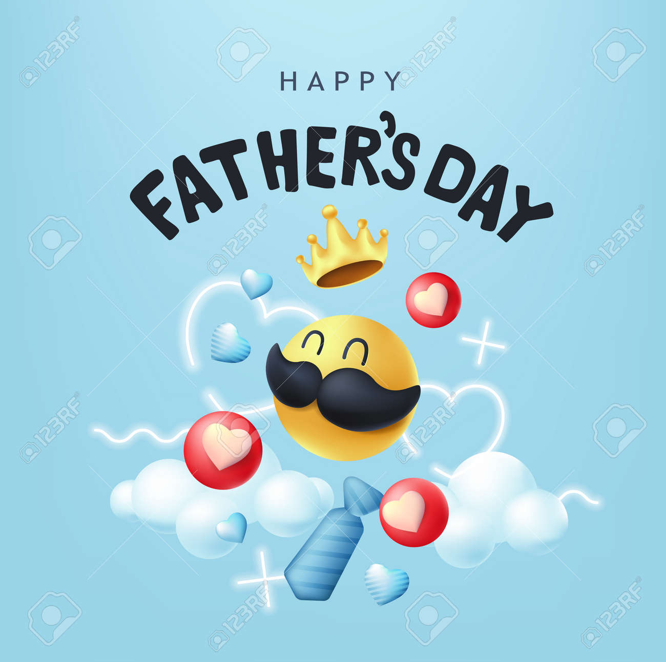Happy Fathers Day banner background with mustache smiley - 168671060
