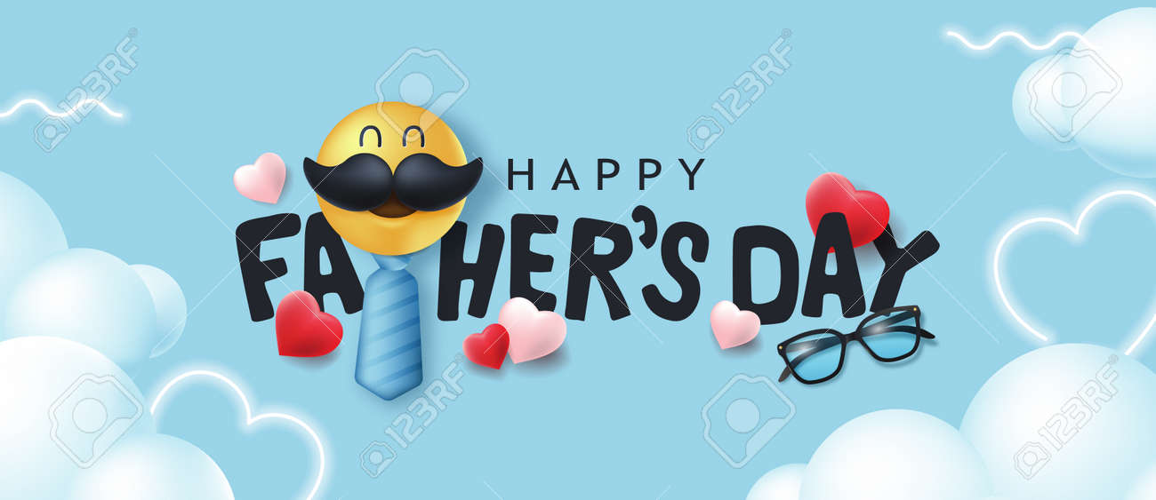 Happy Fathers Day banner background with mustache smiley - 168671063