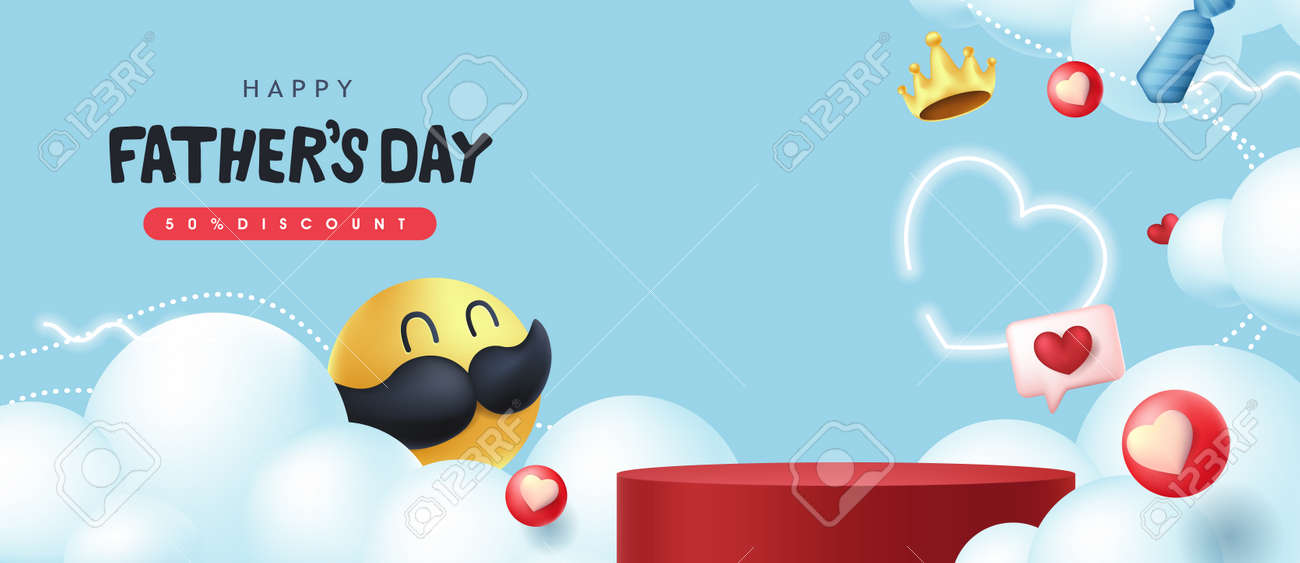 Happy Fathers Day banner background with mustache smiley and product display cylindrical shape. - 168671064